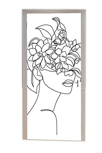 A.Monamour Türtapete Selbstklebend Türfolie Türposter 3D Abstrakte Frau Gesicht Kopf Mit Blume Eine Linie Kunst Zeichnung Skizze Vinyl Folie Türdeko Tapete Wandbild Türaufkleber Türtattoo 77 x 200 cm