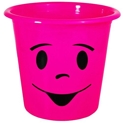 1 Stück _ Papierkorb / Behälter -  lustiges Gesicht - NEON rosa / pink  - 5 Liter - aus Kunststoff - Mülleimer Eimer / auch als Blumentopf nutzbar - Emotion..
