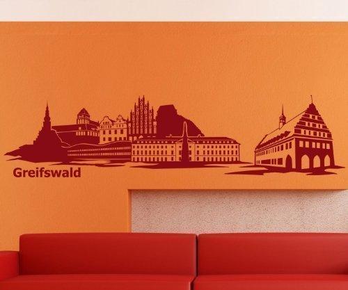 Wandtattoo Skyline Greifswald Wohnzimmer XXL Aufkleber Deutschland Stadt 1M169, Farbe:Flieder glanz;Länge des Motives:100cm