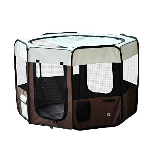 PawHut PawHut Parque Mascotas Plegable 2 Puertas Juego Entrenamiento Dormitorio Perro Cachorros 116x116x71 cm