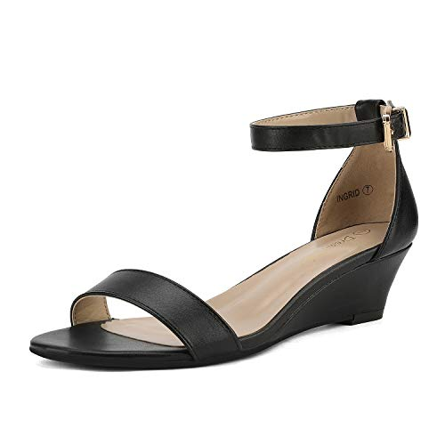 DREAM PAIRS Women's Ingrid Black Pu Ankle Strap Low Wedge Sandals Size 8.5 M US