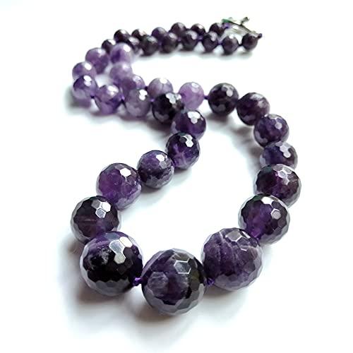 Trenzado Conjunto de joyas Collar de babero de cristal Collar Único natural REAL Amatistas púrpuras Aproximadamente 6-16 mm Gargantilla Collar de moda 48cm Fiesta Regalo del día de la madre Ajustable