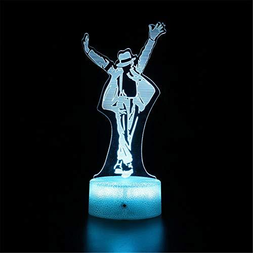 Michael Jackson Optische Illusion 3D Lampe 3D Nachtlicht 16 Farbwechsel Dekor Lampe - Perfektes Geschenk für Kinder und Zimmer Dekor