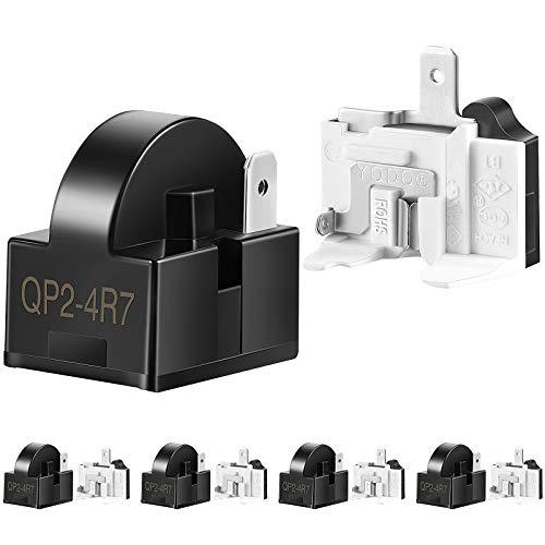 10 Pieces Refrigerator Starters QP2-4R7 4.7 Ohm 1 Pin Refrigerator PTC Starter Relays and 6750C-0005P Refrigerator Overload Protectors Refrigerator Parts Accessories