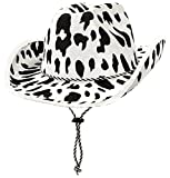 Beistle Cow Print Cowboy Hat-1 Pc, White/Black