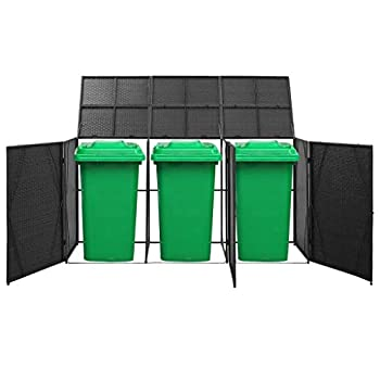 Festnight Triple Wheelie Bin Shed Black Poly Rattan Trash Powder-Coated Steel Frame Water Resistant Trash Container Management Unit with Enclosure Lid 90.2 x 30.7 x 47.2 Inches  W x D x H