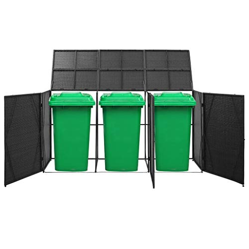 Festnight Triple Wheelie Bin Shed, Storage Shed with Lifting Lids, Easy to Move, Water- and Rot-resistant Black 229x78x120 cm Poly Rattan