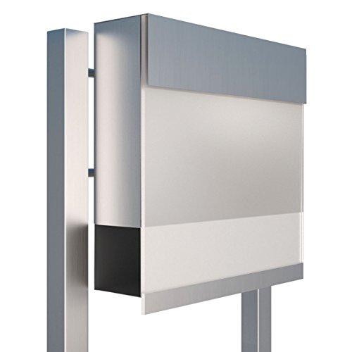 Standbriefkasten mit Zeitungsfach, Design Briefkasten Manhattan Stand Edelstahl/Acryl Weiß - Bravios