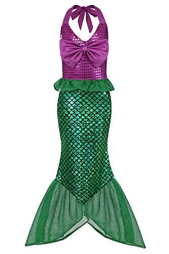 Geplaimir Meerjungfrau Kostüm Kinder Mädchen Dress Up Arielle Kostüme Prinzessin Kleider Cosplay Kinder Outfits Fischschuppen Geburtstag Party Badeanzug Ankleiden Größe 004XL (8-9 Jahre)
