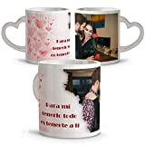 Taza con Foto Personalizada. Tazas Asa Corazon. Regalos San Valentin Personalizados. Taza San Valentin de Cerámica. Taza Asa Corazon Corazón Corazones