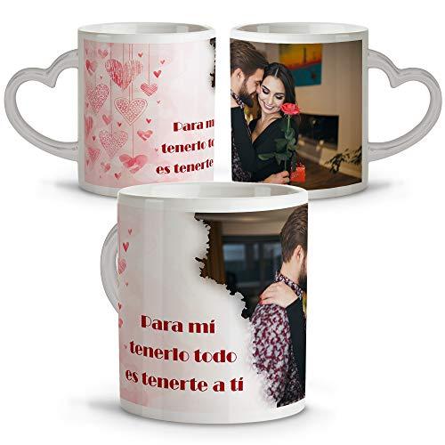 Taza con Foto Personalizada. Tazas Asa Corazon. Regalos San Valentin Personalizados. Taza...