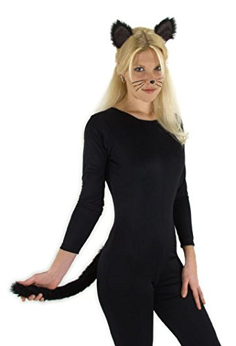 Black Cat Costume Ears Headband and Tail Kit for adults and kids