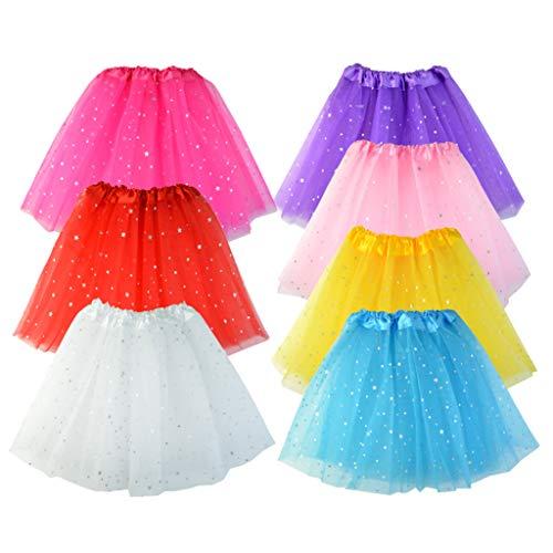 baotongle 7 Stücke Tüllrock Ballettrock Tütü Star Minirock Prinzessin Tüllrock für Party Mädchen