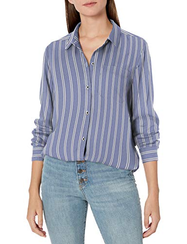 Amazon Brand - Goodthreads Women's Modal Twill Long-Sleeve Oversized Boyfriend Shirt, Blue/White Double Bar Stripe, Small