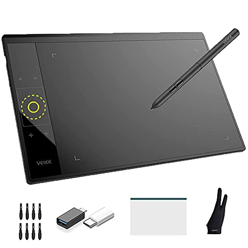 Graphic Drawing Tablet with 4 Touch Keys 1 Touch Panel VEIKK A30 Linux and Android Supported Digital Drawing Pad 10 x 6 Inch Pen Tablet for Computer PC Laptop