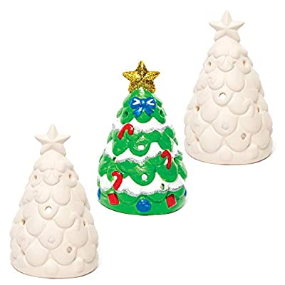Baker Ross AC3262 Christmas Tree Ceramic Tealight Holders — Ideal for Kids' Arts and Crafts, Gifts, Keepsakes and More (Pack of 3), Assorted