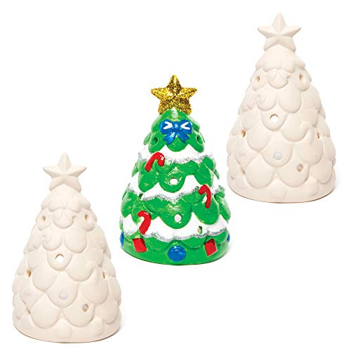 Baker Ross AC3262 Christmas Tree Ceramic Tealight Holders - Pack Of 3, Ideal For Kids' Arts And Crafts, Gifts, Keepsakes, Assorted
