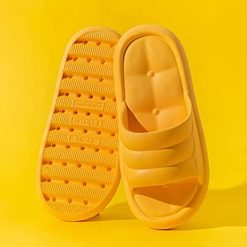 Kirin-1 Zapatillas Verano De Casa para Mujer,Zapatillas Antideslizantes del Interior De La Casa del Verano-39-40_Amarillo