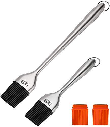 Rwm Basting Brush - Grilling BBQ Baking, Pastry and Oil Stainless Steel Brushes with Back up Silicone Brush Heads(Orange) for Kitchen Cooking & Marinating, Dishwasher