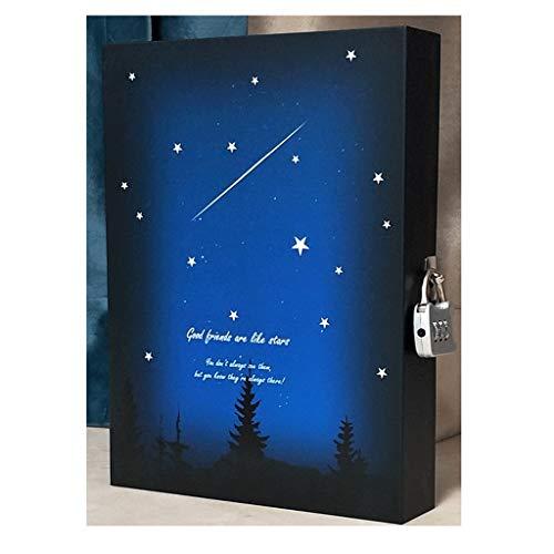 WINON Notebook,Cuaderno, Bloc de Notas Sub-Cuaderno Diario con Bloqueo Libro de Mano Engrosado Bloqueo de contraseña Diario Starry Meteor Notebook (Color : Blue, tamaño : C)