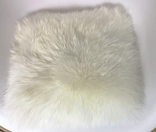 Engel Naturfelle Sitzauflage NADI-30 aus Lammfell hochwollig quadratisch Fellmaß 40x40cm, Weiss