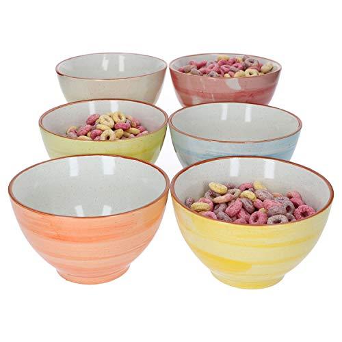 MamboCat 6-delige universele schaalset Colorido voor 6 personen I salade-/soepkom I 500 ml I 6 gekleurde porseleinen terrines I vaatwasmachinebestendig