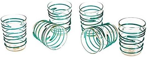 Juego de vasos de cristal de Murano, vasos transparentes, filamentos verdes y decoraciones de hojas doradas, juego de cristalería hecho a mano, marca de origen garantizada, YourMurano, Clarissa