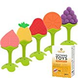 Teething Toys (5-Pack) - Fruit Shaped Silicone Baby Teethers - BPA-Free Sensory Pacifiers for Natural Brain Development of Infants and Toddlers - Perfect Baby Shower Gift - For Newborn Girls and Boys