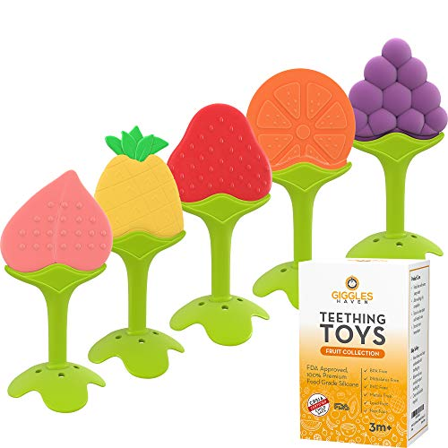 Giggles Haven 5-Pack Teething Toys - BPA-Free Silicone Fruit Baby Teether Toys