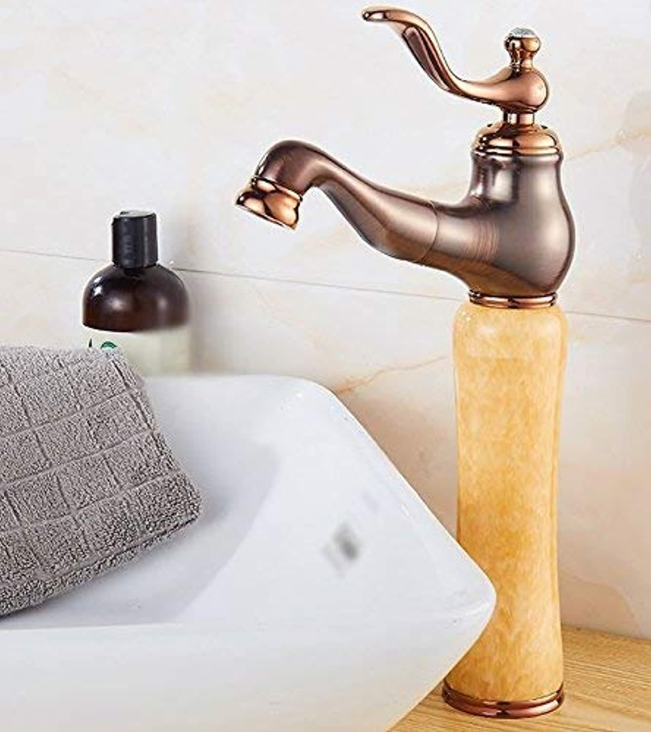 Oudan Sink Taps copper European style Basin jade Hot and cold Pull out