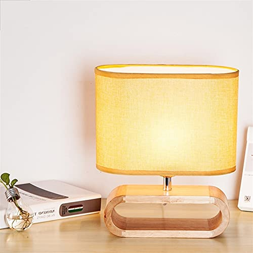 mfw@wewe Decoración creativa moda simple nórdica cama minimalista mesa de tela de madera cálida luz de noche lámpara de tanque pequeña incluso para maquillaje y oficina escritorio lectura dormitorio v