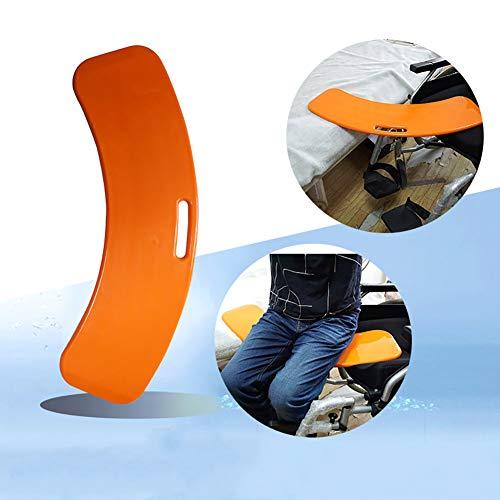 ZHFC Gebogenes Transferbrett - Verdickte rotierende Sitztransferhilfe für den Transfer des Patienten vom Rollstuhl zum Bett Badewanne Toilette und Auto (Orange)
