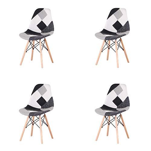 EGOONM Conjunto de 4 Sillas Sillas de Comedor de Patchwork, Sillas de Sala de Estar de Ocio, Silla de Estilo nórdico (Blanco Y Negro)
