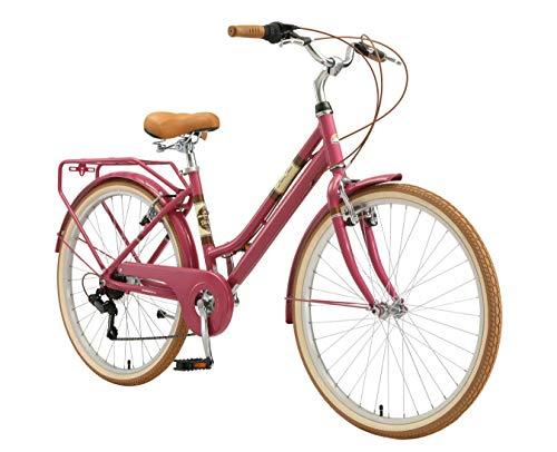 BIKESTAR Alu City Stadt Fahrrad 26 Zoll | 16 Zoll Rahmen, 7 Gang Shimano Damen Rad, Hollandrad Retro Bike mit V-Bremse und Gepäckträger | Berry | Risikofrei Testen