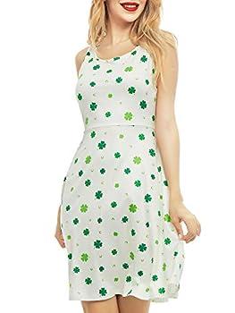 SATINIOR Women Sleeveless Clover Shamrock St Patrick Day Printed Midi Dress  Four-Leaf Clover L
