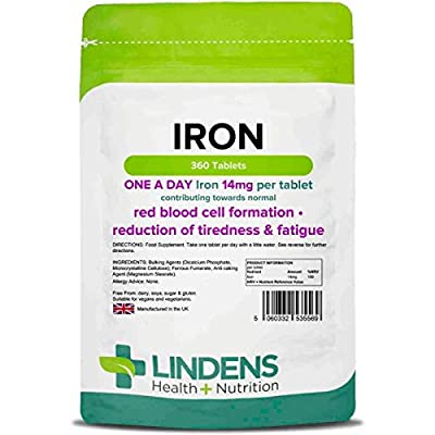 Lindens Iron 14mg Tablets | 360 Pack | Helps Reduce Tiredness & Fatigue, Supports Normal Oxygen Transportation, Formation of red Blood Cells & Cognitive Function