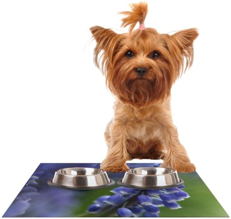 Kess InHouse Angie Turner Grape Hyacinth  Green Purple Feeding Mat for Pet Bowl, 18 by 13