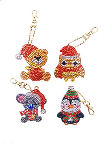 EIYUN 4 Pack Key Ring Keychain Pendant,Cute Cartoon Animals Rhinestone Alloy Decoration