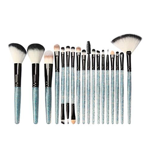 B Blesiya Kit de 18pcs Pinceau Maquillage Professionnel Brosse Poudre de Ombre à Paupière Blush Mélangeur Poudre de Fondation Eyeliner - Bleu Noir