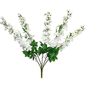 LINESS for 30″ Artificial Larkspur Delphinium Bush Wedding Silk Flowers Centerpieces Fake DIY LINESS for Wedding Flowers, Petals & Garlands Floral Décor – Color is White