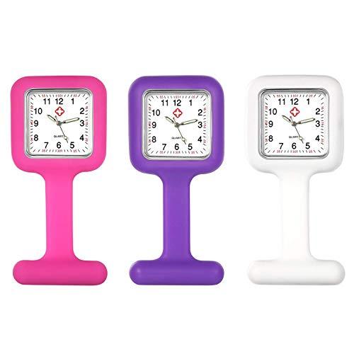 Lancardo Reloj Enfermera con Cubierta Silicona Cuadrada Reloj de Bolsillo Médico de Movimiento Cuarzo NO Impermeable Reloj con Dial de Báscula Digital 3 Pcs Sets Conjuntos