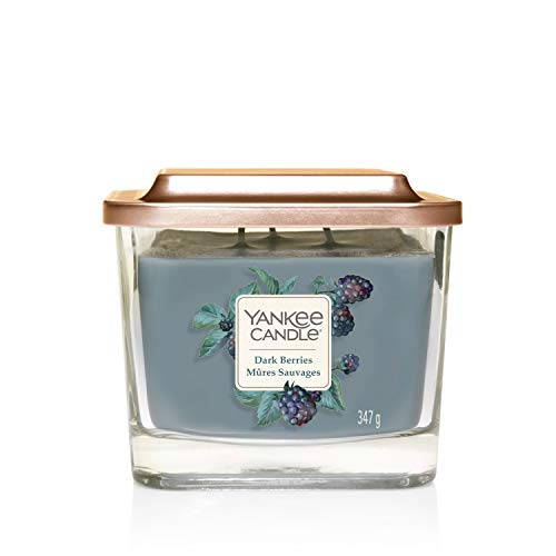 Yankee Candle Elevation Collection con Coperchio della Piattaforma Candela Quadrata a 3 Stoppini, Cera, Bacche Scure, Media