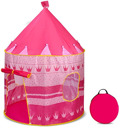 Ucradle Kids Play Tent, Pink Princess Castle Kids Play House With Screens, Pop Up Play Tent With Carry Bag Indoor & Outdoor Games, Great Gift For Girls Kids Children 3 4 5 Years Old - 40'x 55'(D x H)