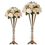 Nuptio 2 PcsTabletop Metal Wedding Flower Trumpet Vase Table Decorative Centerpiece Artificial Flower Arrangements for Anniversary Ceremony Party Birthday Event Aisle Home Decoration (Gold)