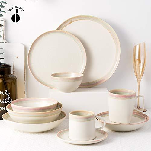 Ceramics Dinnerware Set, Simple European Style Porcelain Dinner Set of 34 | Cereal Bowl and Steak Plate Set for Wedding Housewarming Gift