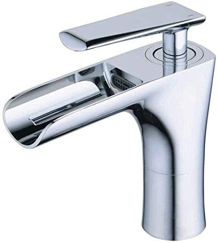 Grifo mezclador de una manija Grifo mezclador de lavabo de baño cuadrado Grifo de cascada Grifos de cobre Grifo de baño frío y caliente