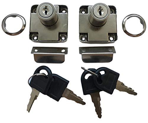 2er Set Aufsatzschloss mit Winkel und 4x Schlüssel + Abdeckung – auch als Einbauschloss/Nachträgliches Schloss für Möbel Schränke