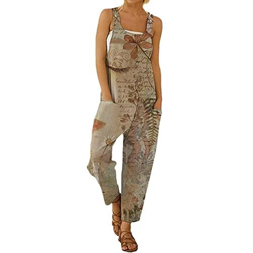 I3CKIZCE Peto Pantalones para Mujer Lino Largo Mono Largo para Mujer Boho Estampados Floral Estilo Casual Pierna Suelta de Mujer con Correas Bolsillos Laterales (Beige, L)