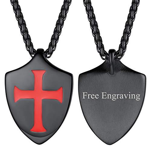 FaithHeart Cruz Jesusalén Caballeros Templarios Escudo Collar Amuleto de Protección Colgante Acero Inoxidable 316L Talismán de Protección para Hombres Regalo Personalizado DIY