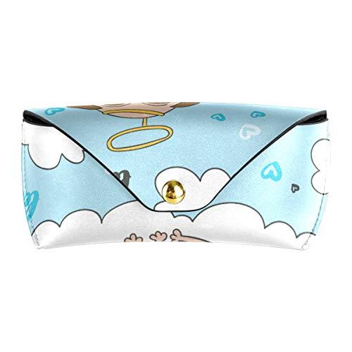 Gafas Bolsa de regalo Multiuso Divertidos dibujos animados Angel Pug Perro Anteojos Bolsa Gafas de sol portátiles Funda Cuero de PU
